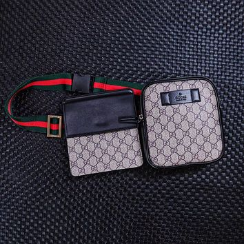 GUCCI SIGNATURE LEATHER WAIST PACK CHEST BAG CROSS BODY BAG