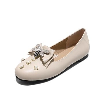 Pearls Rhinestone Bowtie Flats Shoes for Woman 7327