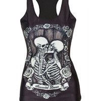 Pink Queen Hot Women Skeleton Printed Sleeveless T Shirt Vest Tank Tops (Kiss)