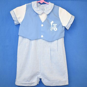 80s Blue Gingham Vest And Pants Baby One Piece 18 Months