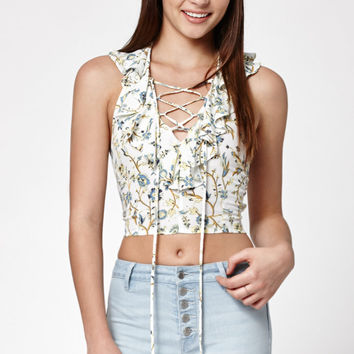 Kendall and Kylie Ruffled Halter Cropped Top at PacSun.com