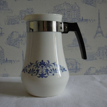Vintage corning ware blue cornflower tea coffe pot 1960's