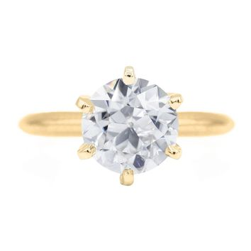 Old European Cut (OEC) Round Moissanite 14K or 18K Yellow Gold 6 Prongs Solitaire Ring