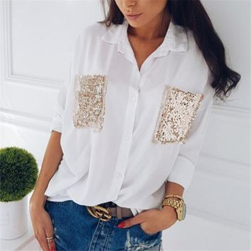 hirigin Fashion Women shirt Casual Long Sleeve Chiffon chest sequined pocket long sleeve Blouses Loose female Tops Blouse