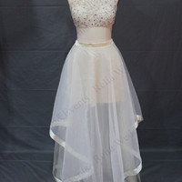 Two Piece Prom Dresses,White Prom Dresses,Long Evening Dress