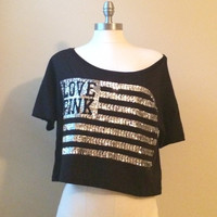 XS Victoria's Secret LOVE PINK Tee T-SHIRT Tank TOP SEQUIN Bling USA Flag