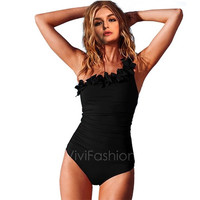 New Sexy One Shoulder Padded Monokini Bikini One Piece Swimsuit Swimwear Bathing VVF = 1956888900