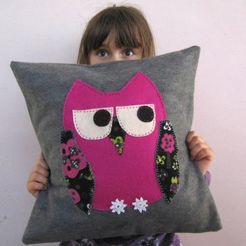 Childrens Owl Throw Pillow hot pink owl applique on by EarthLab