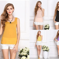 Fashion New Summer Women Clothing Chiffon Sleeveless Solid Neon Candy Color Causal Chiffon Blouse Shirt Women Top = 1958646148