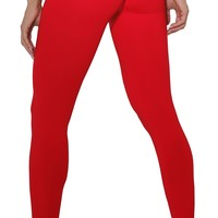 Brazilian Workout Legging - Scrunch Booty Lift! Compression Hot Red