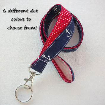 Lanyard  ID Badge Holder - Lobster clasp and key ring - design your own - navy blue white anchors -  red dots - two toned double sided