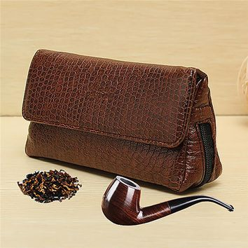PU Leather Smoke Sack Smoking Pipe Case Tobacco Bag Pipes Pouch Tamper Filter Tool Cleaner Briefcase Brown