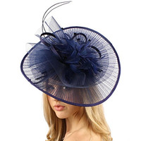 Big Kentucky Derby Feather Floral Organza Headband Fascinator Cocktail Hat Navy