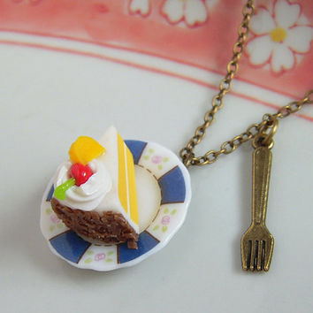 Miniature Cake Dessert Tiny Fork Antiqued Brass Necklace