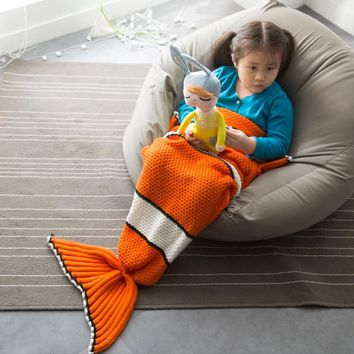 Baby Blanket Cute Nimo Clownfish Knitted Mermaid Tail Blanket For Kids With Scales Soft Breathable Sleeping Bag For Children