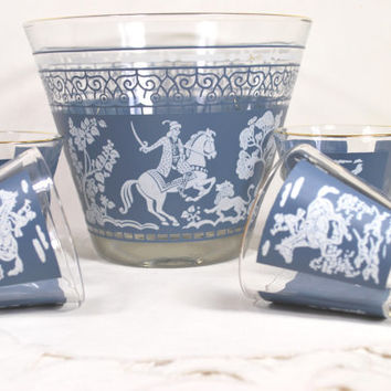 Vintage Ice Bucket and  Low Ball Glasses Jeannette Blue Wedgwood 1950 Bar Set Equestrian