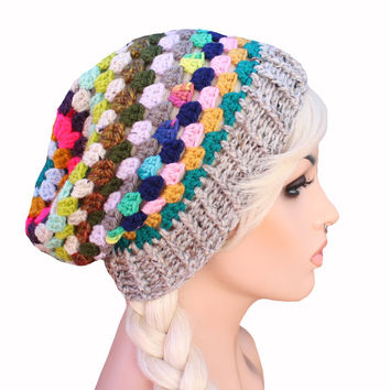 Colorful Crochet Granny Stitch Rainbow Mix Match Slouch Beanie Hat - Rhyme & Reason