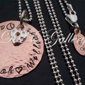 D2E personalized engraved handstamped copper and sterling silver necklace with heart lock pendant