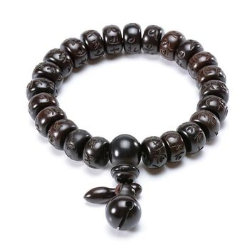 Tibetan Buddhist Mala Buddha Bracelet Natural Wood Bead Bracelet OM Meditation Yoga Prayer Bracelets For Men Women Jewelry Gift