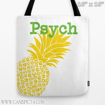 Psych Tote Bag Television Show Pineapple 13x13 Graphic TV Pop Culture Humor Lime Neon Fun Yellow Green Fruit Bright Gift Spencer Guster Gus