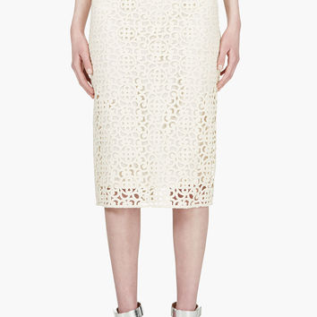Burberry Prorsum Ivory Lace Overlay Pencil Skirt