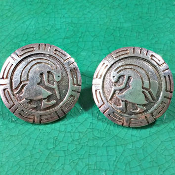 Vintage Navajo Robert Taylor Earrings Famed For Storytelling Scenery Native American Culture Arizona Southwestern Style Sterling Silver
