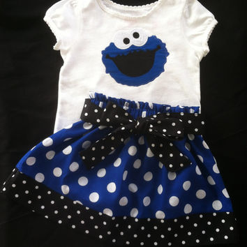 Sesame Street's Cookie Monster Skirt and shirt set (shirt available in short sleeve only)