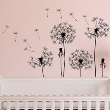 Dandelion Wall Decal- Dandelion Seeds Blowing In The Wind Wall Decal- Flower Wall Decal- Wall Decal Bedroom Living Room Vinyl Wall Decor 077