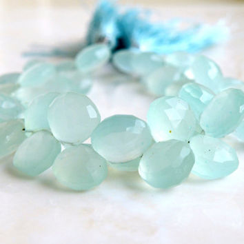 Aqua Blue Chalcedony Briolette Gemstone Faceted Heart Top Drilled 10.5mm 19 beads 1/2 Strand Wholesale
