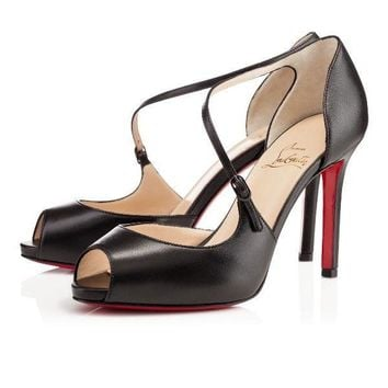 100% AUTHENTIC NEW WOMEN LOUBOUTIN GROROLLI 120 KID BLACK PUMPS/HEELS US 10/UK 40