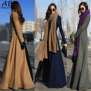 New Arrival Women Casual Full Length Wool Windbreaker Long Sleeve Loose Maxi Wool Overcoats Trench Coat
