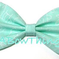 Teal and White Elephants Bow