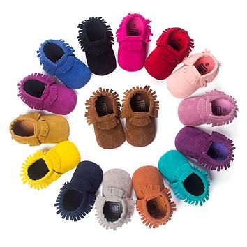 Baby Boy & Girl Fringe Soft Soled Non-slip  Crib Moccasins