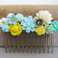 Wedding Hair Comb Yellow Turquoise Mint Bridal Head Piece Blue Ivory Cream Bridesmaid Hair Pin Gift Shabby Chic Romantic Flower Hair Comb