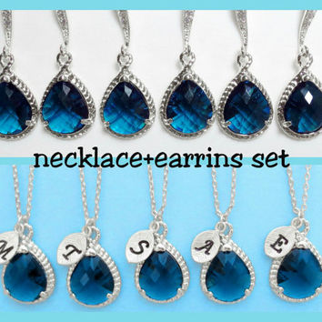 Choose Your Stone Color, Personalized, Initial, Necklace and earrings, Combo sets. Set jewelry, Wedding, Bridesmaid, Bridal, Gift, Jewelry