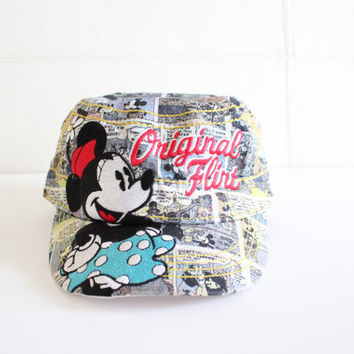 Vintage Mickey Mouse Snapback Original Flirt Minnie Disney Cap Hat Cartoon Graphic Embroidered Cap Rare 90s Skater Hat Unisex Hip Hop
