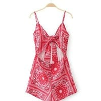Streetstyle  Casual Spaghetti Strap Bowknot Cutout Exposed Navel Printed Romper