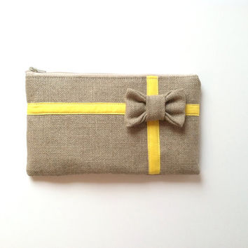 Yellow Gift Clutch - Bow Clutch - Bridesmaid Gift Bag - Burlap Gift Bag - Yellow Ribbon Bag