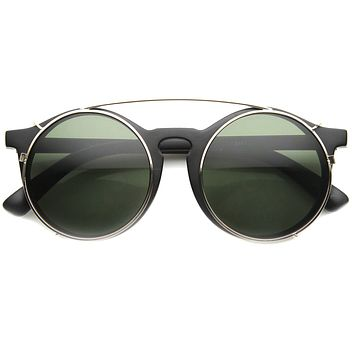 Vintage Round Horned Rim With Crossbar Clip On Sunglasses 9792
