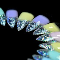 24pcs/set Holo Glitter Extra Long Sharp Stiletto False Nail Candy Rainbow Clear Fake Nails Full Acrylic Nails Tips nep nagels
