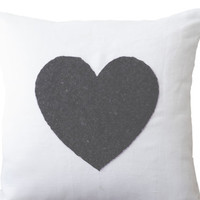 White linen heart pillow cover - black sequin heart pillow - Decorative cuhion cover - Gift - Throw pillow 16X16 Sofa pillow- Heart pillow