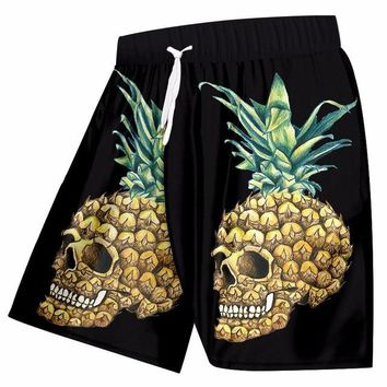 Men's Beach Shorts Pineapple Skull 3d Bermuda short Swimwear