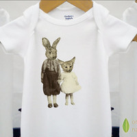 Organic baby clothes vintage Onesuit fox & by BoogalooBubbywear
