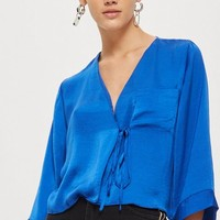 Satin Tie Wrap Blouse | Topshop
