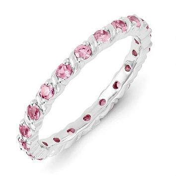 Sterling Silver Stackable Expressions Created Pink Sapphire Eternity Ring