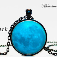 Full Moon Jewelry Blue Moon Necklace Pendant Galaxy, Solar System, Space, Universe, Blue Full Moon, Universe, Moon, Celestial, Stars,planet