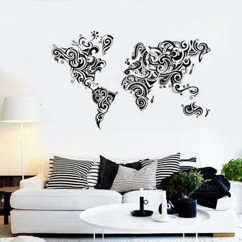 Vinyl Wall Decal Abstract World Map Room Decoration Stickers Unique Gift (1468ig)
