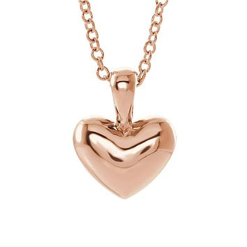 Youth 14k White, Yellow or Rose Gold Small 8mm Heart Necklace, 15 Inch
