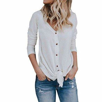 FISACE Womens Henley Shirts V Neck Button Down Solid Long Sleeve Loose Casual Knit Sweaters Tops Blouse