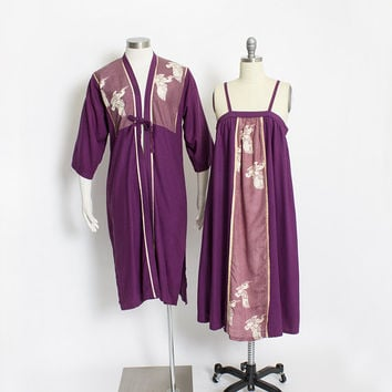 Vintage 1970s Ensemble - Asian Inspired Purple Silk Crane Robe + Dress Set 70s - Small